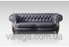 Кожаный диван Chesterfield темно-серый
