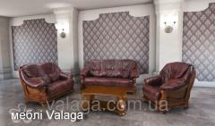 Кожаный комплект диван , кресла темно коричневый