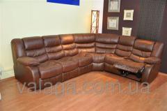 Кожаный угловой диван реклайнер коричневый