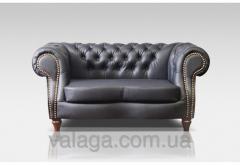 Кожаный диван Chesterfield серый
