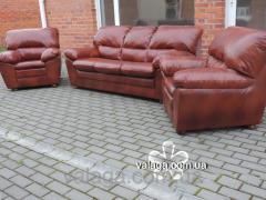 Шкіряний комплект Tina.розкладний диван і крісла