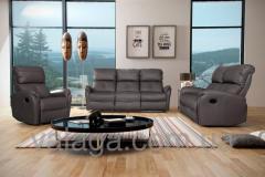 Кожаный диван regan + 2 кресла релакс серый