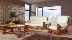 Деревяний стол Mustang + кожаный гарнитур на дубе