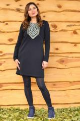Dress from knitted fabric with an embroidery
