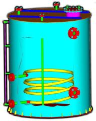 Vertical unit with flat bottoms and a coil, a flat