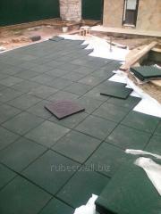 Резиновая плитка зеленая 500х500мм.