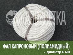 Фал капроновый (полиамидный) плетёный, диаметр 6 мм, бухта 100 м