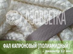 Фал капроновый (полиамидный) плетёный, диаметр 12 мм, бухта 100 м