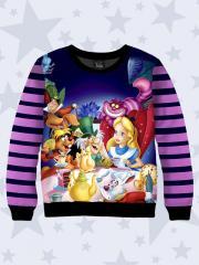 Реглан детский для девочки (свитшот, свитер, водолазка) Disney герои Алиса темно синий в полоску 7543