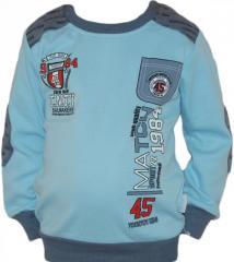 Реглан детский (водолазка, свитер) с нашивками для мальчика (голубой) Турция 4076