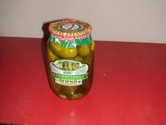 Огурцы консервированные 1л  торговая марка