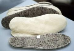 Insoles from sheep wool