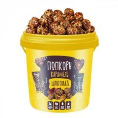 Ready chocolate karamelizirovanny popcorn in
