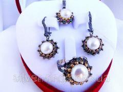 Комплект женский серебряный с жемчугом 0011 Г