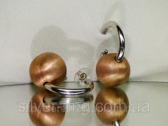 Оригинальные серебряные серьги с позолотой 0062С