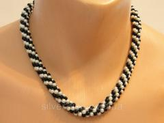 """Necklace """"black and white"""" 0207"""