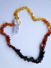 "Amber necklaces ""Tricolor"" 0225"