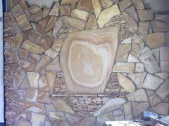 Песчаник плитняк желтый тигровый с разводами