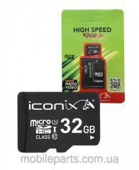 Карта памяти Iconix 32 ГБ 10 Класс с переходником