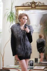 Short fur coat a vest from foreheads of a mink and the Finnish silver fox