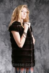 """Жилет из американской норки цвета """"Горький шоколад"""" real mink fur vest gilet"""