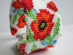 """Wide Bead Bracelet """"poppies on a white"""