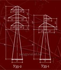 Анкерно-угловая металлическая опора ЛЭП 35 кВ