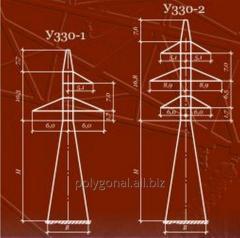 Анкерно-угловые металлические опоры для ЛЭП 330 кВ