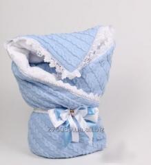 Winter knitted envelope blanket, corner for