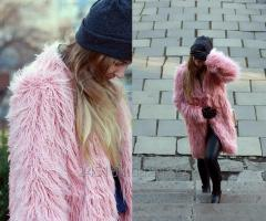 Fur coat pink fur fabric of a lama