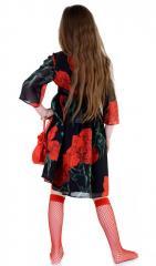 Эффектное легкое платье черного цвета с розами