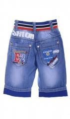 Необычные джинсовые бриджи голубого цвета на...