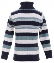 Милый свитер синего цвета в полоску