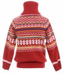 Милый свитер красного цвета с орнаментом