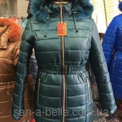 Женская зимняя куртка,  модель Дутик зеленая