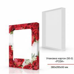 Красная картонная коробка с цветами 380х285х50 мм,