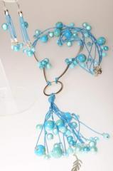 Голубой комплект длинные бусы Anna Bijouterie