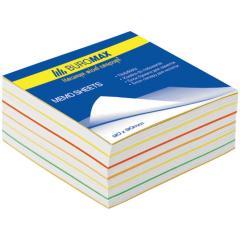 Блок бумаги для записей Buromax РАДУГА 80х80х30 склеенный