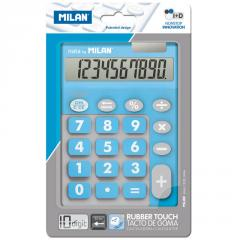 The Milan calculator is desktop, 10 digit, TOUCH DUO Rubber Touch, blue