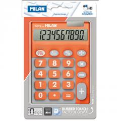 The Milan calculator is desktop, 10 digit, TOUCH DUO Rubber Touch, orange