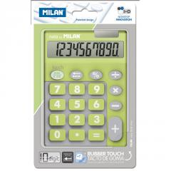 The Milan calculator is desktop, 10 digit, TOUCH DUO Rubber Touch, lime