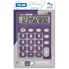 The Milan calculator is desktop, 10 digit, TOUCH DUO Rubber Touch, viole