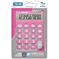 The Milan calculator is desktop, 10 digit, TOUCH DUO Rubber Touch, pink