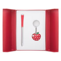 Набор подарочный Langres Apple: ручка шариковая + брелок, красный LS.122024-05