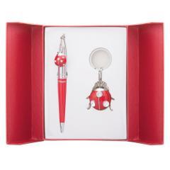 Набор подарочный Langres Beetle: ручка шариковая + брелок, красный LS.122023-05