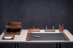 Desk set of the 7 subject of a natural tree TM Bestar, color: nut (7238WDM)