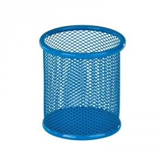 Подставка для ручек круглая, металлическая, синяя Zibi