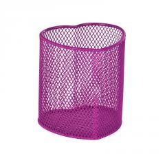 Подставка для ручек сердце, металлическая, розовая