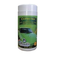 Napkins Arnica for a car (headlights, glass, a mirror) of 100 pieces, damp, in bank