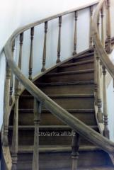 Spiral staircases with wooden steps